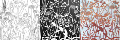 New design Wildflowers the drawing the cut and the final panel