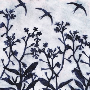 silhouettes of forget me nots against the sky