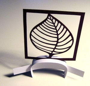Leaf papercut and stand by Janine Partington