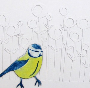 Enamel and scalpel cut line drawing by Janine Partington