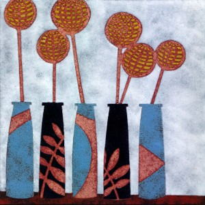 Enamelled panel - still life with vases