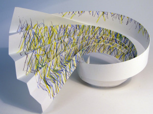 Cut Fold Construct 12 - hand coloured paper sculpture by Janine Partington (1)