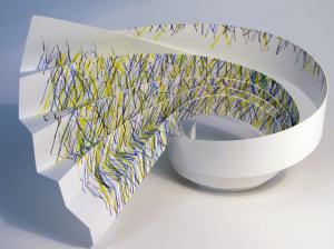 Cut Fold Construct 12 - hand coloured paper sculpture by Janine Partington (1)