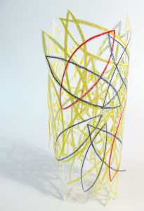 Cut Fold Construct 13 - paper sculpture doodle vessel by Janine Partington