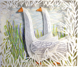 Cut Fold Construct 23 - paper relief of geese by Janine Partington